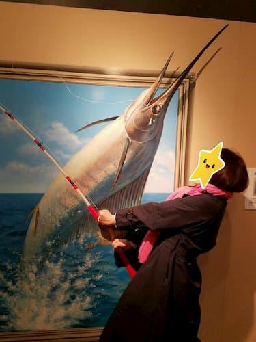 神戸トリックアートのお魚釣り