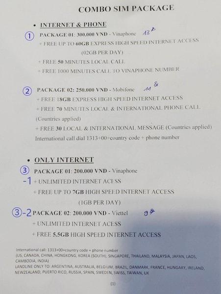 ノイバイ空港のSIM料金