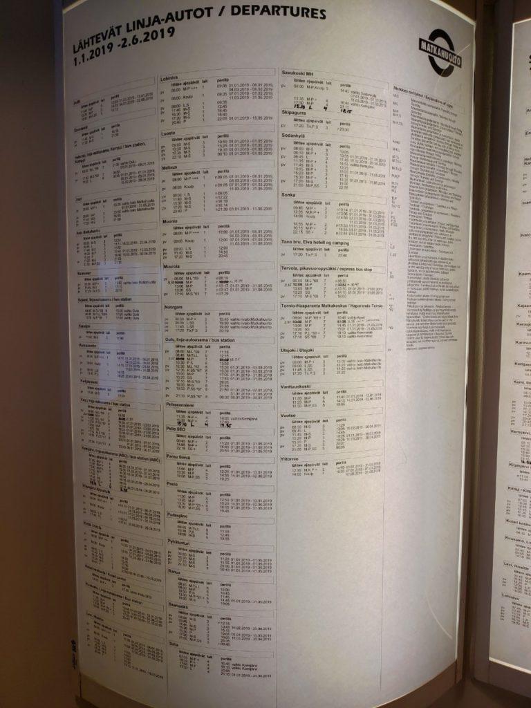 ロバニエミから各都市に行くバス時刻表