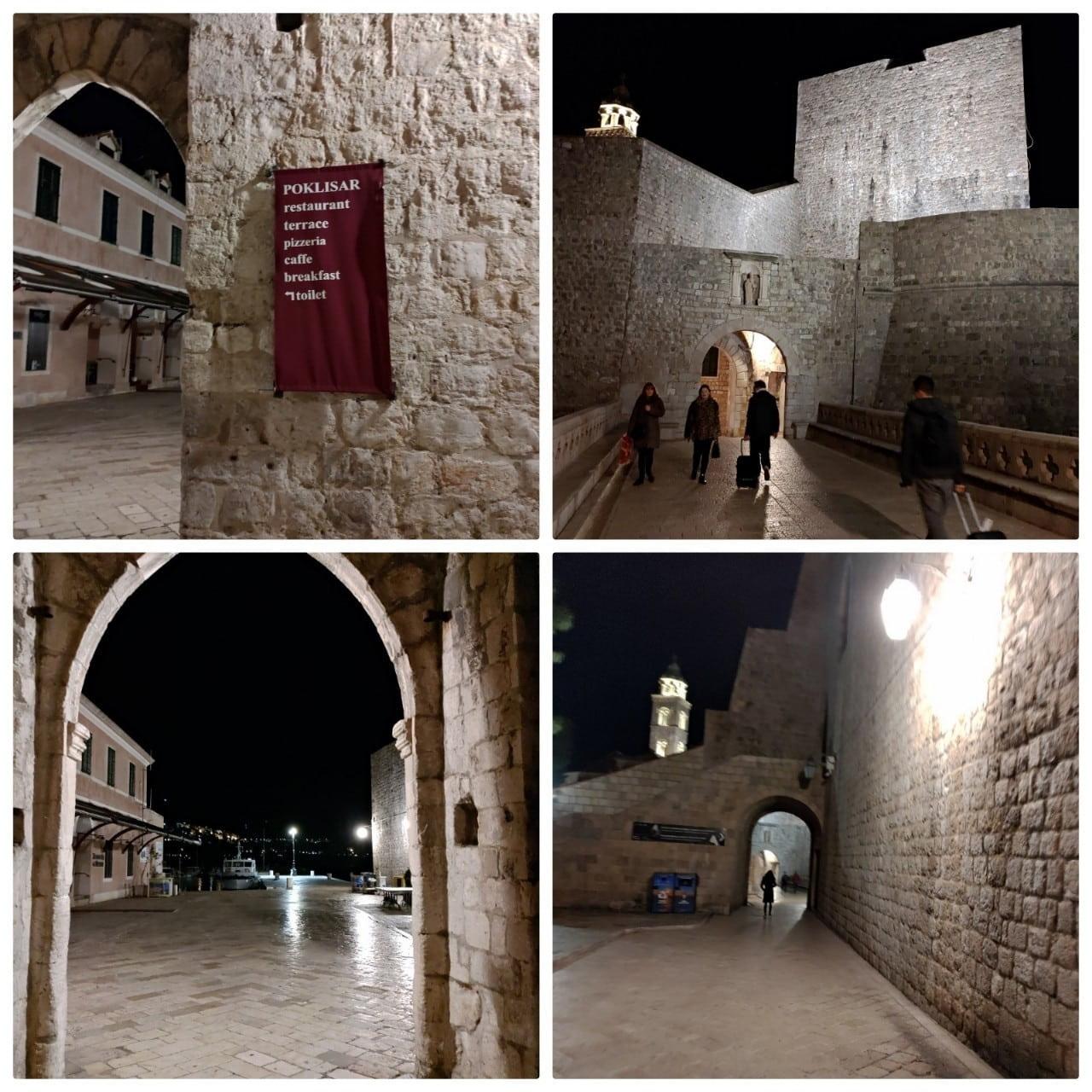 ドブロニクの夜の城壁