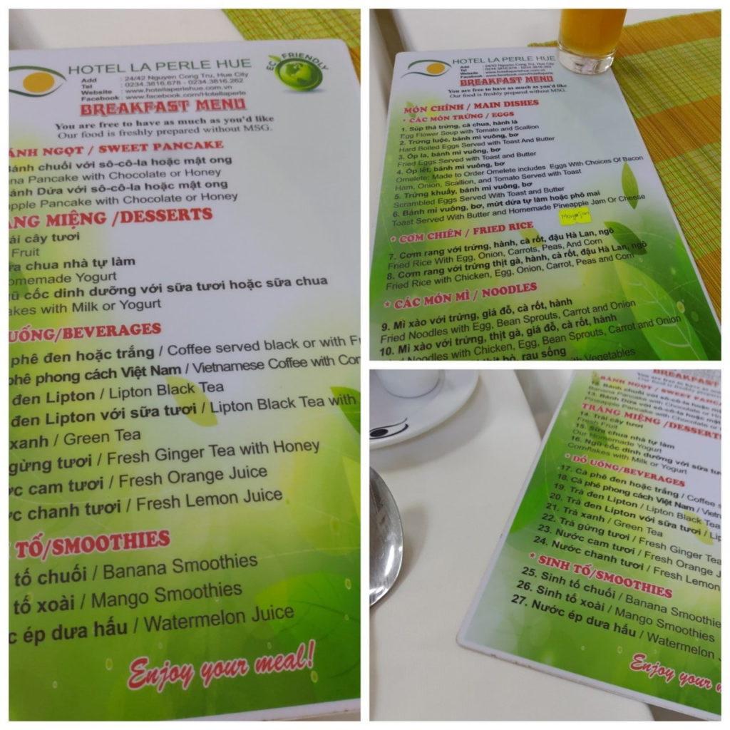 ベトナムフエのホテルの朝食メニュ-