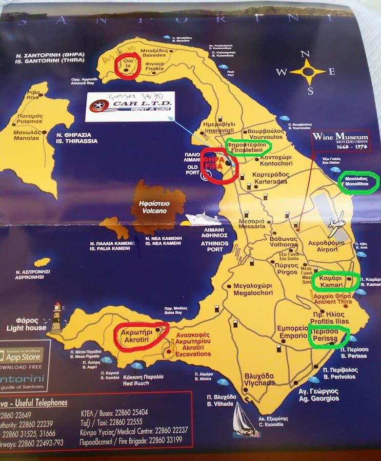 サントリーニ島の全体マップ