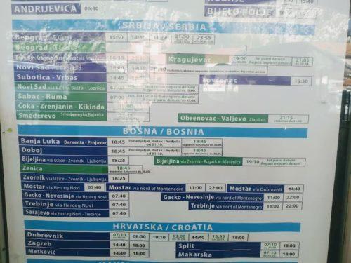 コトル発-バス時刻表