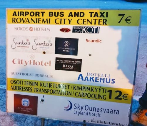 ロヴァニエミ空港バス値段