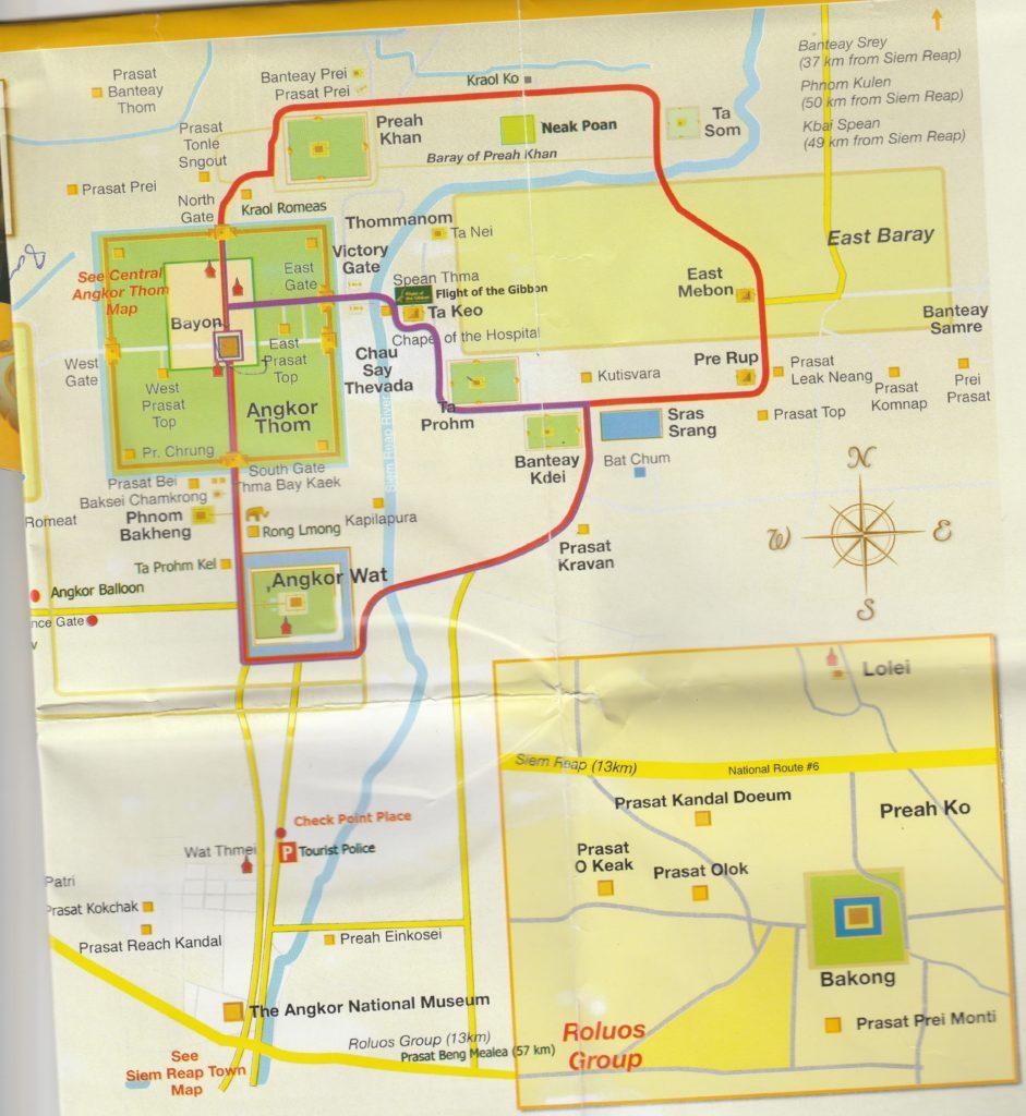 アンコールワットとトムの地図
