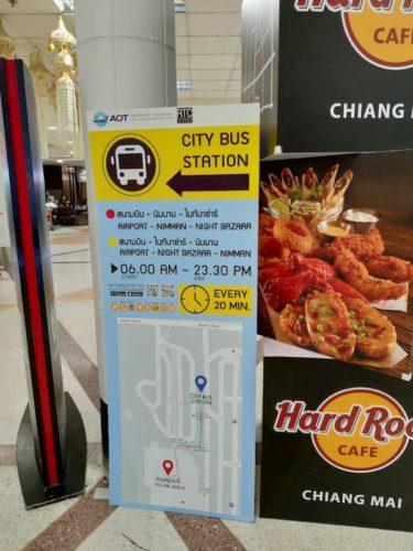 チェンマイのバス乗り場への案内図