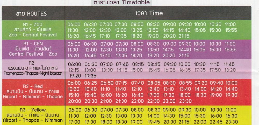 チェンマイのバスの各路線時刻表