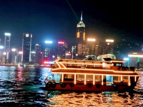 香港の夜景とスタ-フェリ-1