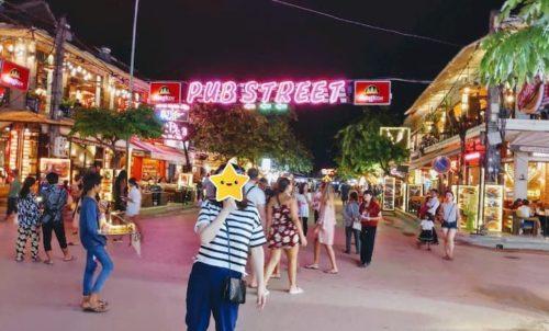 カンボジアのシェリムアップのパブストリ-ト