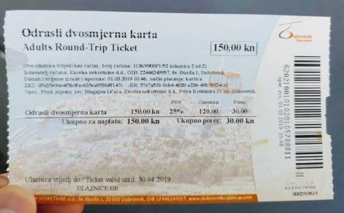 ドゥブロヴニクのスルジ山のケーブルカ-のチケット